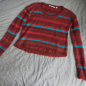 Roxy Cropped Spice It Up Striped Sweater
